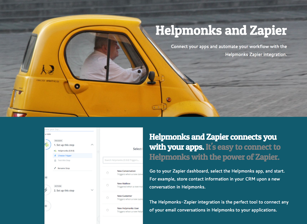 New in Helpmonks: Zapier