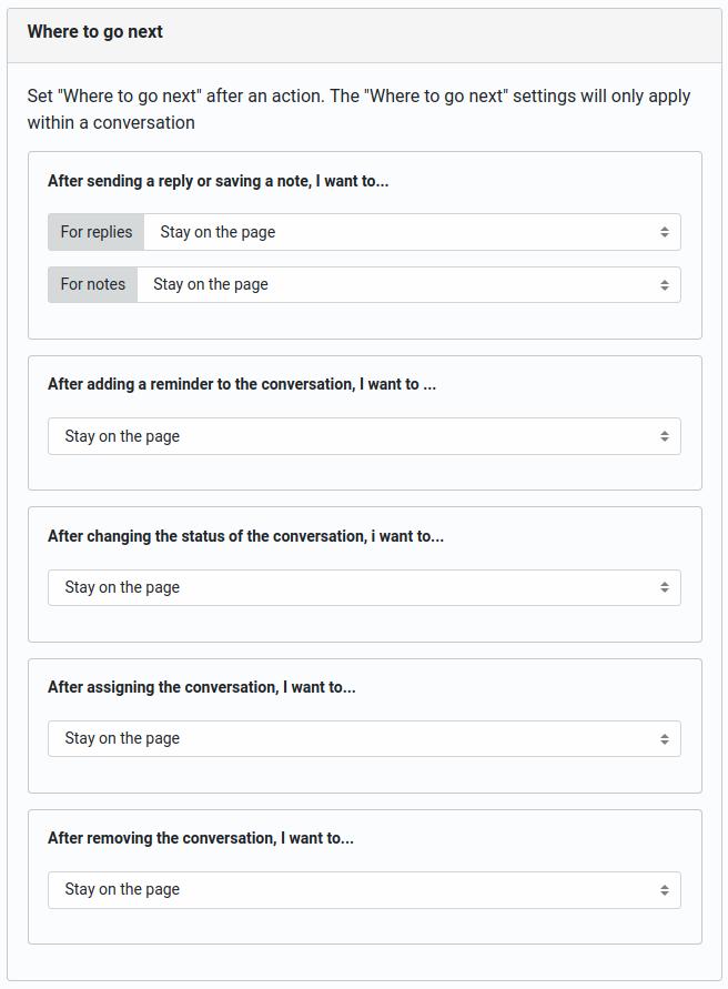 "Helpmonks ""Where to go next"" settings"