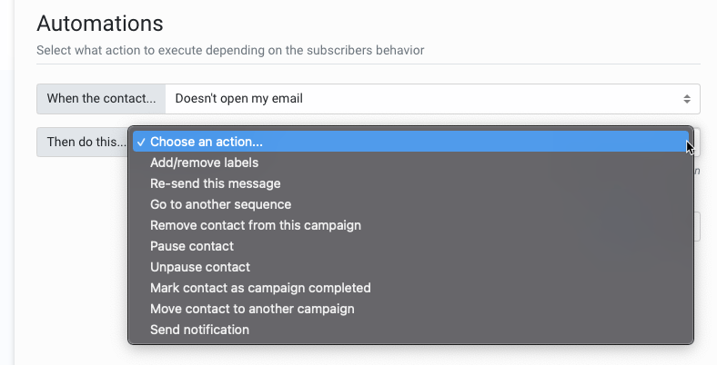 Helpmonks trigger emails upon subscriber's action